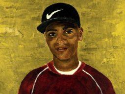 imagem de divulgação do livro do Desembola na Ideia. pintura retrata menino negro, de boné e camiseta vermelha, olhando para a tela